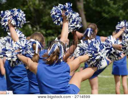 Youth Teen Football Cheerleaders Cheering 3