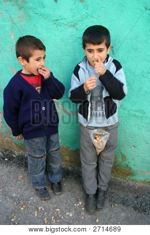 Children Eating Peanut