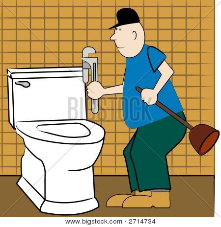 Man Plumber At Toilet