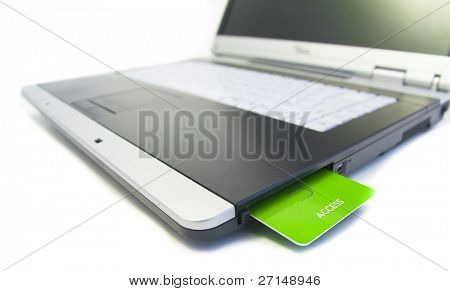 notebook with green access card