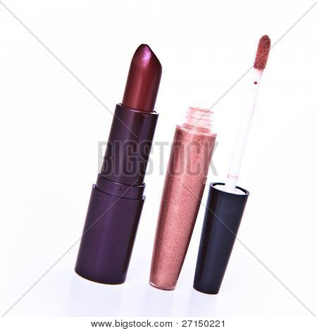 lipstick with lip gloss isolated