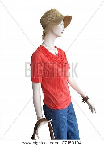 Mannequin In Straw Hat And Coral Top