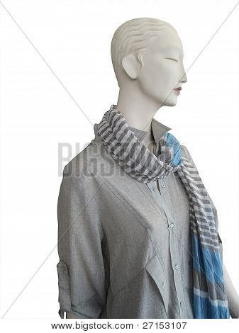 Mannequin In Grey Shirt And Grey And Blue Scarf