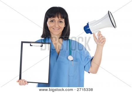Woman Doctor Whit Megaphone