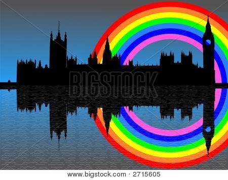 Houses Of Parliament With Rainbow