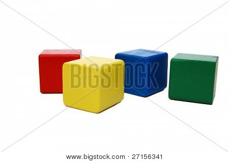 wooden colourful childrens blocks isolated white