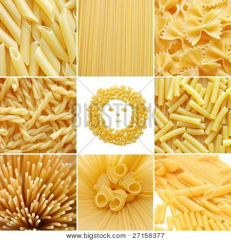 different kinds of italian pasta. Food collage