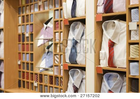 Shelf with men  wear in shop