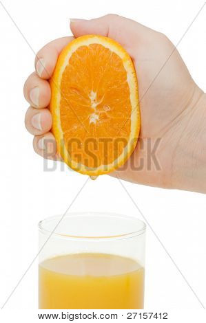 Fresh squeezed orange juice isolated on white