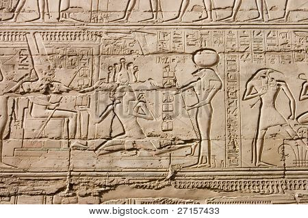 Egyptian hieroglyphs. Pattern from Karnak Temple, location: Luxor, Egypt