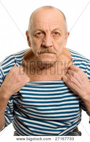 The elderly man in a stripped vest