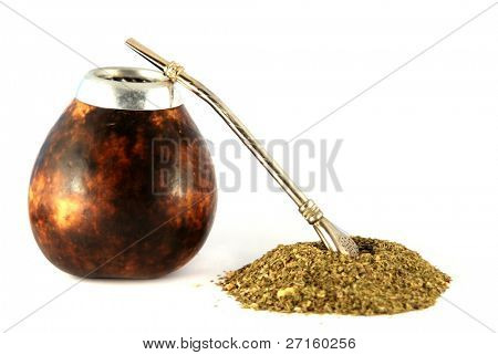 Cup from calabash and straw with dry mate leaves - traditional drink of Argentina.