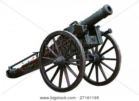 Ancient cannon isolated on white background