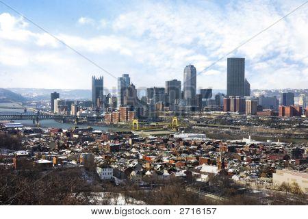 Pittsburgh city skyline and Monongahela