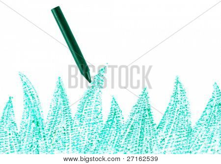 Green crayon with drawn grass close-up