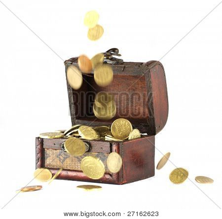 Coins falling down into the wooden casket