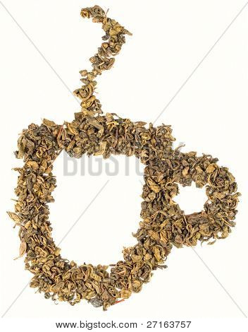 Cup made with green tea leaves isolated on white background