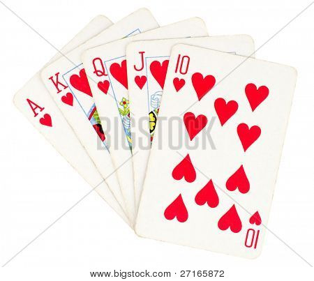Flush royal cards isolated on white background