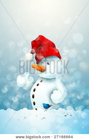 Snowman with Santa's Hat in fellowship with a little Blue Bird | Christmas Greeting Background
