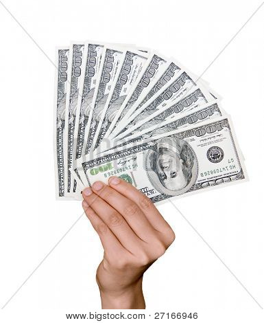 A fan of one hundred dollar bills held in a hand isolated on white.