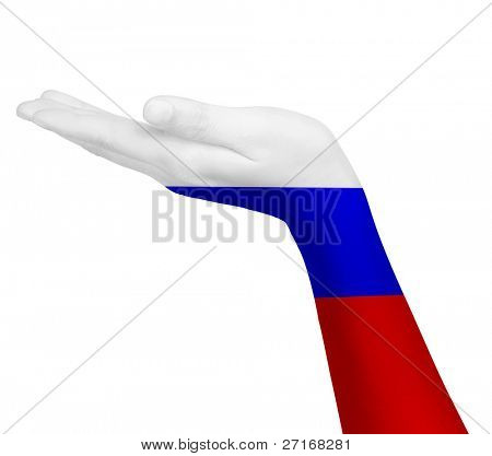 Russian flag on an open hand