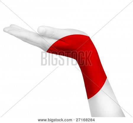 Japanese flag on an open hand