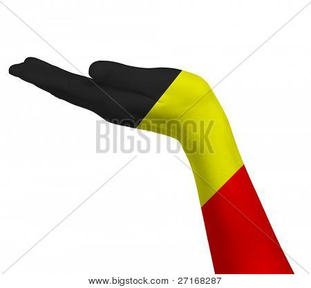 German flag on an open hand