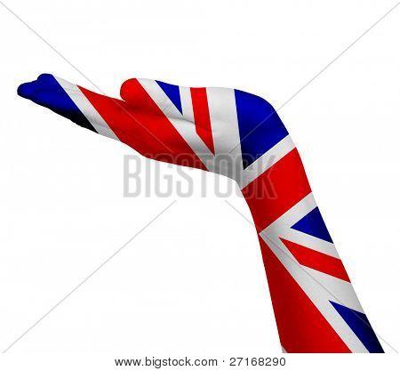 UK flag on an open hand