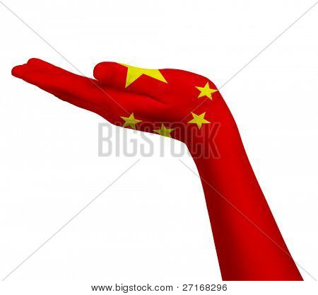 Chinese flag on an open hand