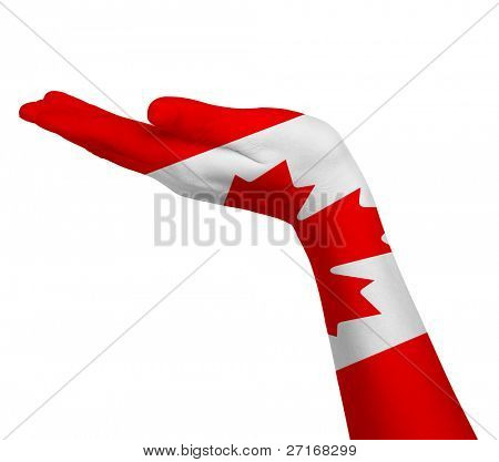 Canadian flag on an open hand