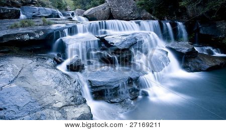 Beautiful time lapse waterfall cascades over rocks