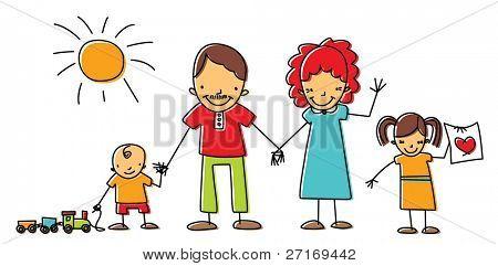 Familia feliz cogidos de la mano y sonriendo juntos