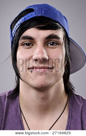 Cool dude with hat and piercing, highly detailed portrait