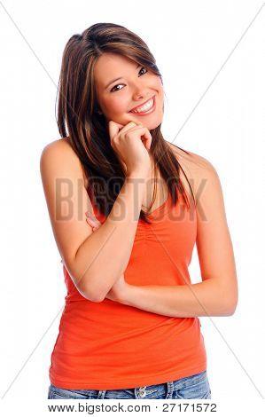 Bela mulher morena feliz com sorriso perfeito