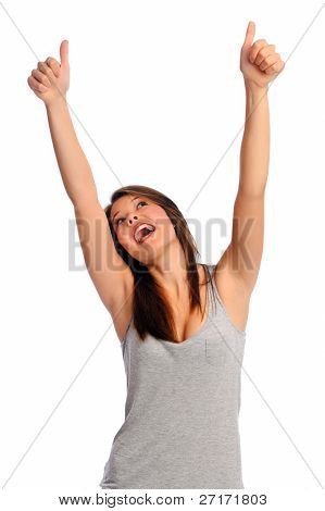 Isolated beautiful girl has her arms raised and thumbs up to signify a job well done