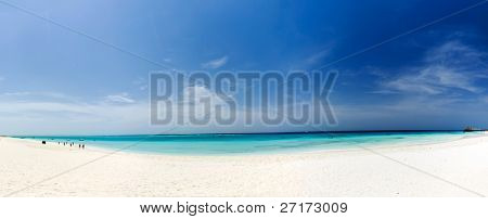 Zanzibar beach, white sand, blue sky, clear water
