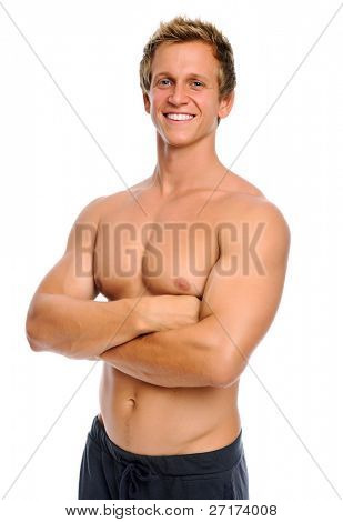 Healthy muscular man is happy with his body