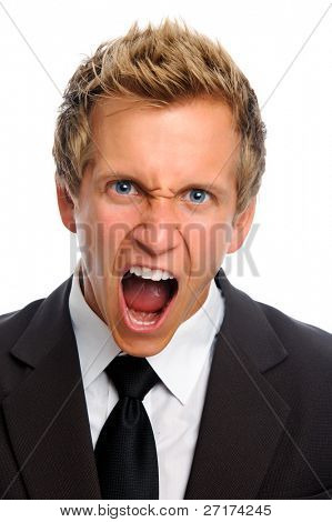 Caucasian man yelling in anger and rage