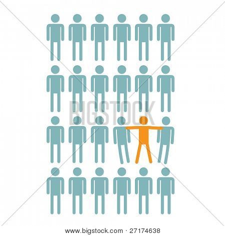 individuality concept drawing of a person standing out from the crowd
