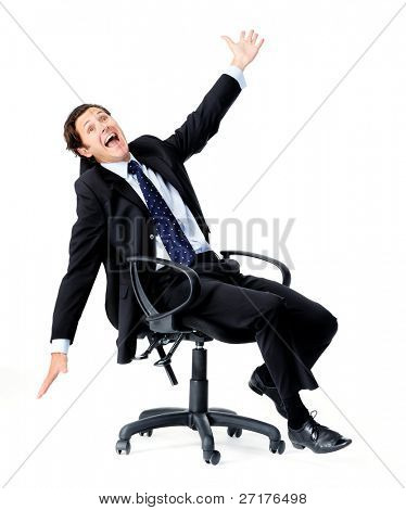 Silly office worker wasting time and playing a fool spinning on his office chair