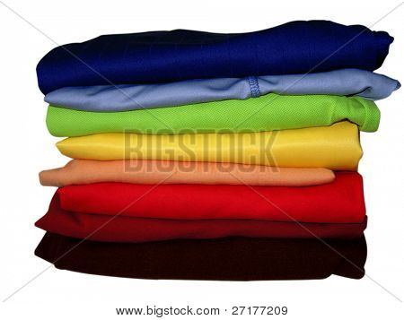 pile of clothes isolated on white with clipping path