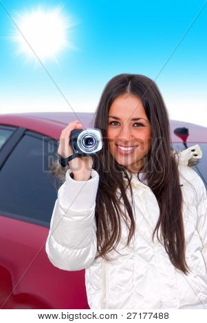 woman with a camcorder