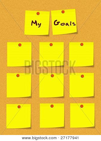 My Goals Yellow Sticky Notes On Bulletin Board