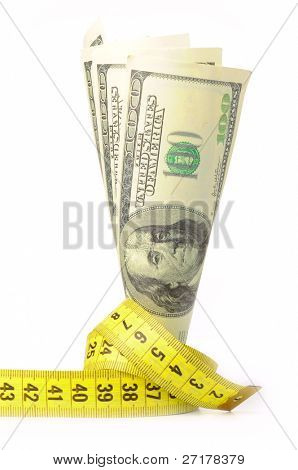 dollars with yellow metre