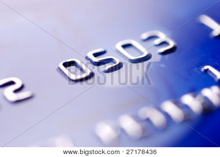 closeup of blue credit card