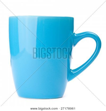 usual blue cup isolated on white background