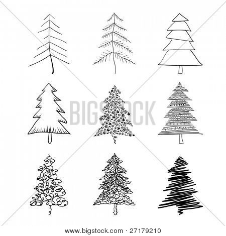 Christmas tree silhouette, set of illustrations. Vector, EPS8.