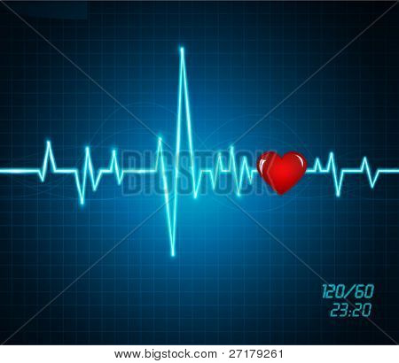 vector background with a monitor heartbeat, heart