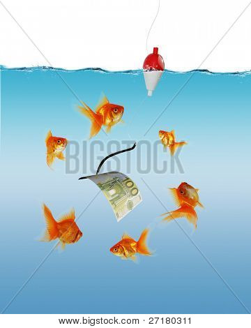 Collage of swimming gold fish and money symbols