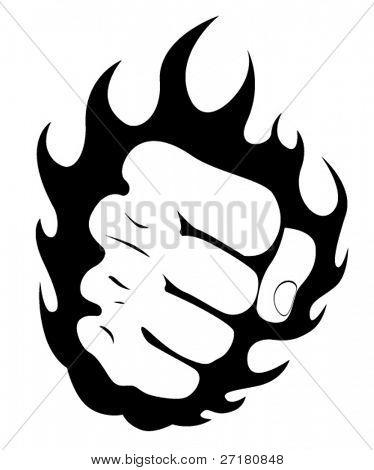 Fist in fire